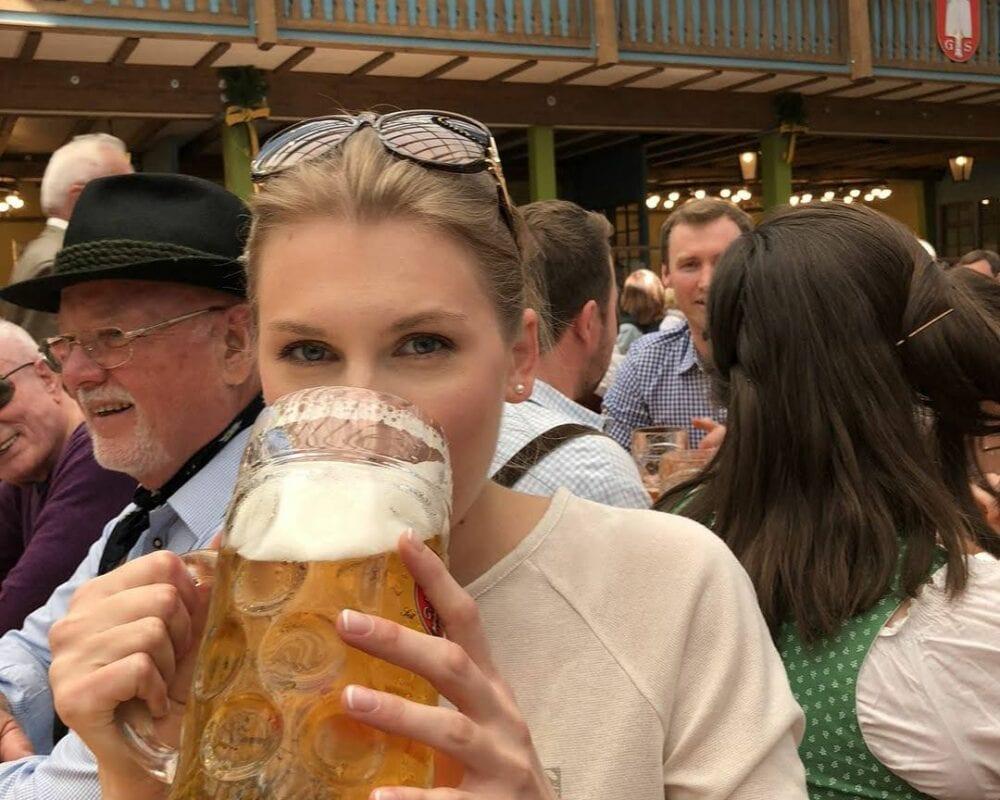 Oktoberfest outside fass drinking