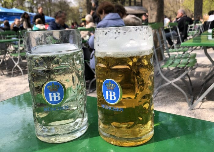 Beers in the Chinese garden Munich