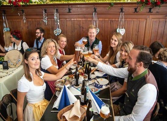 Drinking beer in Schneiderei in Munich